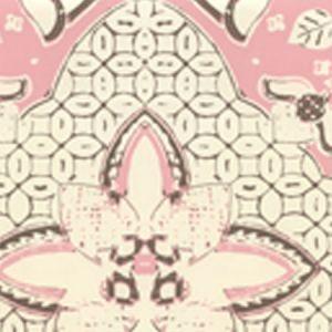 6430-14WP NEW BATIK Pink Brown On Off White Quadrille Wallpaper
