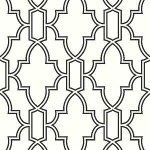 NW31600 Black and White Tile Trellis Seabrook Wallpaper