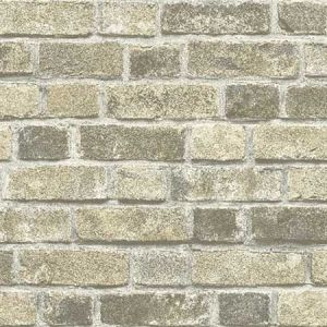 NW31705 Distressed Neutral Brick Seabrook Wallpaper