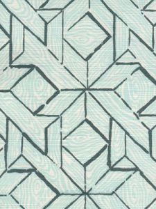 6280-03 PARQUETRY Blue Turquoise on White Quadrille Fabric