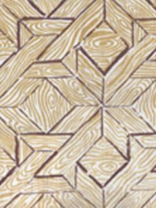 6280-01 PARQUETRY Brown Camel on White Quadrille Fabric