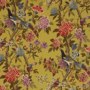 R1355-1 HYDRANGEA BIRD Mustard Mauve GP & J Baker Fabric