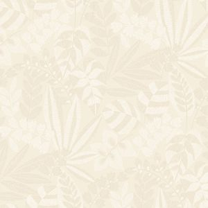 RY30603 Botanica Striped Leaves Sand Dune and Ivory Seabrook Wallpaper