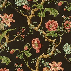 6046M-001 ANDREW JACKSON FLORAL Multi On Chocolate Scalamandre Fabric