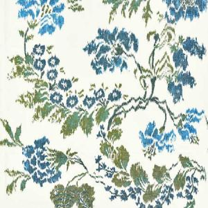 16611-002 KEW GARDENS WARP PRINT Blues On Ivory Scalamandre Fabric