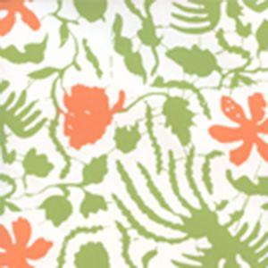 6650W-05WP SEYA Leaf Green Orange Quadrille Wallpaper