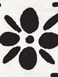 6380-10 WILDFLOWERS II Black on White Quadrille Fabric