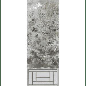 WNM 0003CRESP1 CRESTED CRANE PANEL 1 Silver Gold Scalamandre Wallpaper