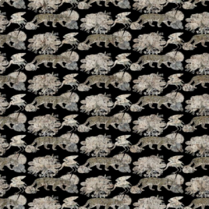 WNM 0006 LEOP LEOPARD WALK Black Scalamandre Wallpaper