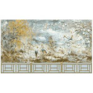 WNM SET1CRES CRESTED CRANE 6 PANEL SET Wheat Blue Scalamandre Wallpaper