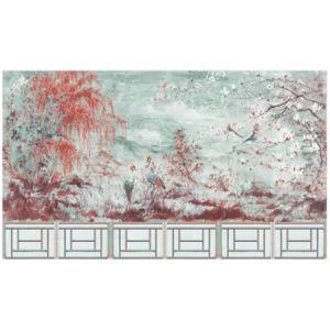 WNM SET2CRES CRESTED CRANE 6 PANEL SET Turquoise Red Scalamandre Wallpaper