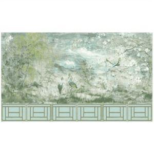 WNM SET4CRES CRESTED CRANE 6 PANEL SET Green Gold Scalamandre Wallpaper