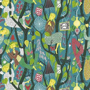 WV1756 Melodi Folk Teal Brewster Wallpaper