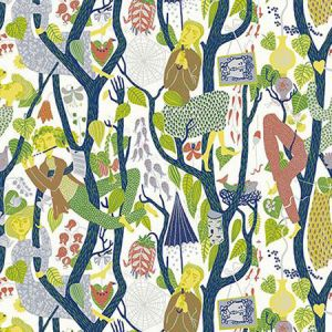 WV1757 Melodi Folk Light Grey Brewster Wallpaper