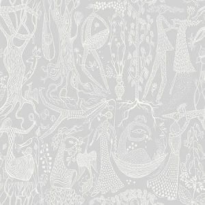 WV1762 Poem d'Amour Folk Light Grey Brewster Wallpaper