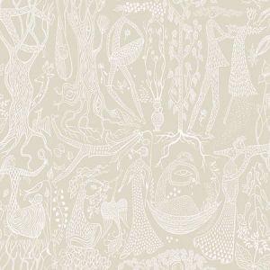 WV1763 Poem d'Amour Folk Taupe Brewster Wallpaper
