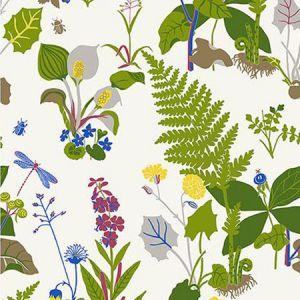 WV1788 Trollslända Botanical Green Brewster Wallpaper