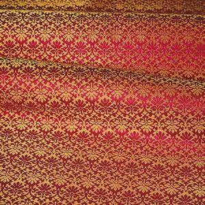 ZA 1782CALO CARLOS SMALL DAMASK Oriental Red Old World Weavers Fabric