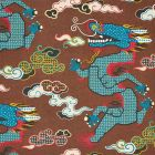 178592 MAGICAL MING DRAGON Brown Schumacher Fabric