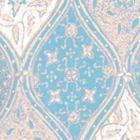 6630-01WP BALINESE BATIK New Blue Cream On White Quadrille Wallpaper