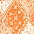 6630-04WP BALINESE BATIK Orange Cream On White Quadrille Wallpaper