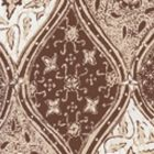 6630-09WP BALINESE BATIK Brown Cream On White Quadrille Wallpaper