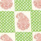 5090-07WP BANGALORE New Shrimp Grass Green Quadrille Wallpaper