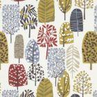F0992/03 TRAD Indigo Cranberry Clarke & Clarke Fabric