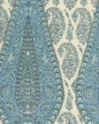HC1950C-09 KASHMIR PAISLEY LARGE Blue on Cream Linen Quadrille Fabric