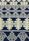010955T ADOBE HANDSTITCH Navy Ecru Quadrille Fabric