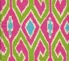 7210-03 AQUARIUS Jungle Green Pink on Cream Quadrille Fabric