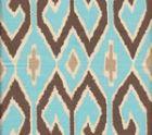 7210-04 AQUARIUS Turquoise Brown with Beige on Cream Quadrille Fabric