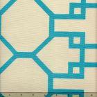 300402F BRIGHTON Turquoise on Tint Quadrille Fabric