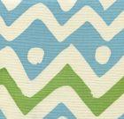 AC103-22 CAP FERRAT Greens Turquoise on Tint Quadrille Fabric