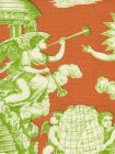 302286F-CU INDEPENDENCE TOILE Green Orange on Linen Quadrille Fabric