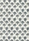 814-09 ISLAND PALM Black on White Chintz Quadrille Fabric