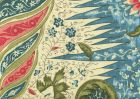 302654F LES INDIENNES MULTICOLOR Multi Blue Salmon Red Quadrille Fabric