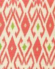 8080-06 LOCKAN Coral Jungle Green on Tint Quadrille Fabric