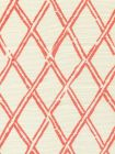 6710-01 LYFORD DIAMOND BAMBOO New Shrimp on Tint Quadrille Fabric