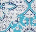 6430-03WSUN NEW BATIK Turquoise New Navy on White  Quadrille Fabric