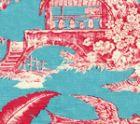 301960F PARADISE GARDEN Rose on Turquoise Quadrille Fabric