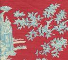301964VSUN PARADISE GARDEN Turquoise on Rose Quadrille Fabric