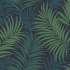 LN10112 Via Palma Midnight Blue, Juniper, and Spearmint Seabrook Wallpaper
