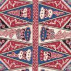 3060-02 MALAY STRIPE Watermelon Blue Quadrille Fabric