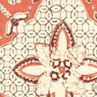 6430-09 NEW BATIK Salmon Brown on Tint Quadrille Fabric