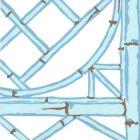 6020W-10 LYFORD TRELLIS Light Blue French Blue Brown On White Quadrille Wallpaper