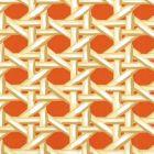 6480WP-01 CLUB CANE Cream Taupe Orange Quadrille Wallpaper