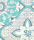 6430-03WP NEW BATIK Turquoise New Navy On Off White Quadrille Wallpaper