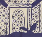 6580-13 LYFORD PAGODA New Navy on White Quadrille Fabric