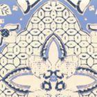 6430-01WP NEW BATIK French Blue Navy On Off White Quadrille Wallpaper